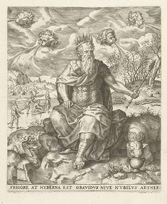 Lambert Lombard   Winter: een koning met de vier winden, Lambert Lombard, Anonymous, Hieronymus Cock, 1568   Voorstelling van de winter in een serie met de vier seizoenen. Een koning met een Januskop en scepter en kroon zit op een stenen muur. Achter hem zijn kinderen aan het schaatsen. In de wolken symboliseren vier hoofdjes die lucht uitblazen de vier winden. De koning is een mengeling uit de god van de maand januari Janus en de god van de vier winden Aeolus. Onder de voorstelling een…