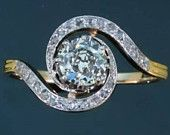 Victorian Platinum, 18k Yellow Gold And Diamond Engagement Ring - France  c.1895