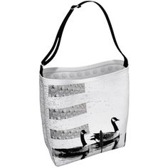 Geese Tote Bag, Large Crossbody Totebag, Adjustable Strap, Big Library... ($35) via Polyvore featuring bags, handbags, tote bags, white tote, yoga tote, handbags totes, beach tote and polka dot tote bag