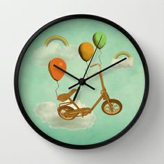 in my world, we bike from cloud to cloud ! Wall Clock by AmDuf - $30.00
