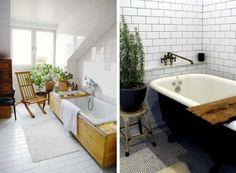 House plants near the bathroom window for an outdoor bathtub feel via Skona Hem (L). Potted rosemary in the bath