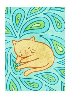 Sleeping Paisley Cat 5x7 Illustration Print