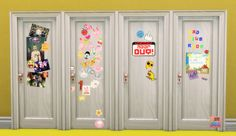 The Sticker Door in 8 flavours (thank you for the ideas, guys!) Download Simlish fonts by ajaysims and gazifu!