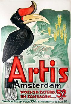 Abonnement op ARTIS :) Old Dutch poster for the Artis Zoo