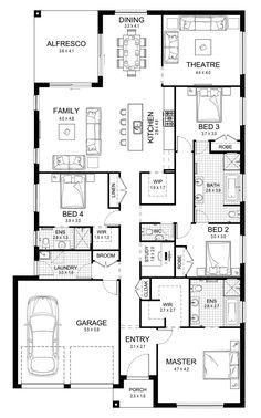 Sabrina 29 - Single Level - Floorplan by Kurmond Homes - New Home Builders Sydney NSW New House Plans, Dream House Plans, House Floor Plans, Australian House Plans, Single Level Floor Plans, Pool House Designs, Apartment Plans, Studio Apartment, Home Design Floor Plans