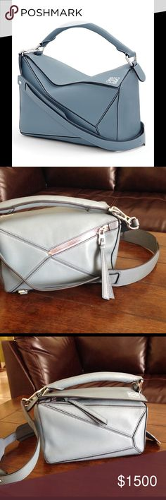 7152cf879 AUTHENTIC LOEWE PUZZLE SHOULDER BAG Sleek architectural silhouette in rich  leather Top handle Removable, adjustable