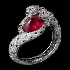 Panthère de Cartier Bracelet set with a rubellite, pink sapphires, diamonds and onyx