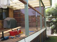Balustrade with Stainless Steel Marine Wire - Preparing the Deck Stainless Steel Balustrade, Roof Ideas, Deck, Wire, Front Porches, Decks, Stainless Steel Railing, Decoration, Cable