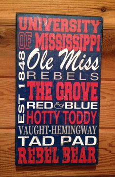 Ole Miss Rebels Original Wood Distressed Vintage Sign by SignNiche, $28.00