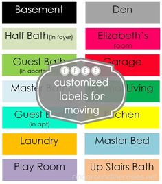 how to stay organized during a move with FREE moving labels Repinned by www.movinghelpcenter.com Follow us on Facebook! #moving