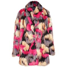 French Connection Stardust Faux Fur Wrapover Coat, Multi (26.780 RUB) ❤ liked on Polyvore featuring outerwear, coats, french connection, faux fur coats, pink coat, fuzzy coat and slim fit coat