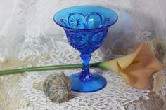 """VIntage FENTON """"Red Cliff"""" Stars Blue Compote RARE. Starting at $25"""
