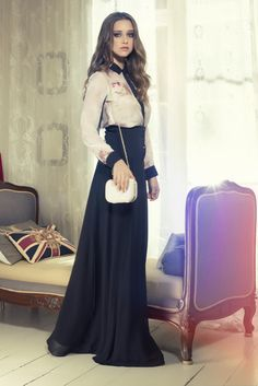 Black maxi and off white blouse..........