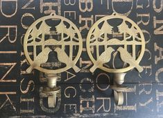 Pair of Vintage Brass Candle Wall Sconces Birds and Trees, Vintage brass, home decor, boho chic, bird lover, wall decor, brass candle holder Brass Candle Holders, Wall Candles, Brass Sconce, Brass Candle, Candle Wall Sconces, Boho Beautiful, Vintage Brass, Vintage, Bohemian Decor