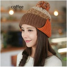 73811adce0f Plain black knit hat with ear for women winter warm hats with pom ...