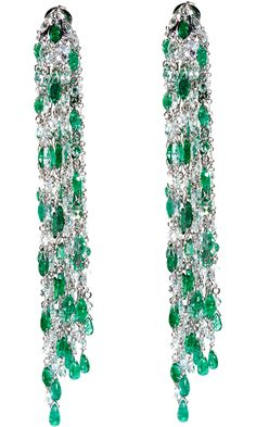 Sidney Garber Emerald & Diamond Waterfall Earrings,18k white gold 'Waterfall' earrings consisting of a brilliant cascade of 260 rose cut white diamonds weighing 17.92cts and 125 emeralds weighing 25.36cts.