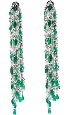 Sidney Garber Emerald & Diamond Waterfall Earrings