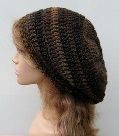 Slouch Beanie Crochet   Brown Tundra Tam Dread Hippie Slouchy Dreadlocks Crochet Beanie ...