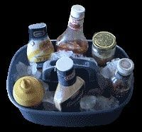 Keeping condiments on ice while they need to be out of the cooler for longer periods of time