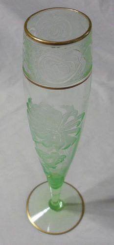 Antique CAMBRIDGE Green Depression Glass Etched Chrysanthemum GOLD Vase RARE