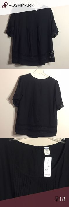 """Black pintucked top with lace detail at hems Pintucked black top with one lace detail strip around sleeves and two strips at bottom hem. XL tall fits like 18W tunic length (I'm 5'5""""). Brand-new with tags! Old Navy Tops Tunics"""