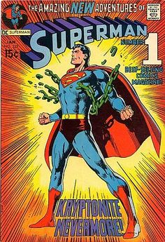 """An amazing poster of DC Comics superhero supreme - Superman! The Neal Adams cover from """"Kryptonite Nevermore. Check out the rest of our super selection of Superman posters! Need Poster Mounts. Poster Superman, Superman Comic Books, Comic Poster, Superman Logo, Comic Book Heroes, Superman Artwork, Superhero Superman, Superhero Room, Batman Art"""