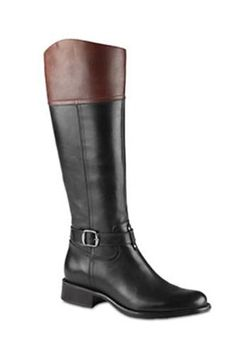 Two-tone black and brown boots.