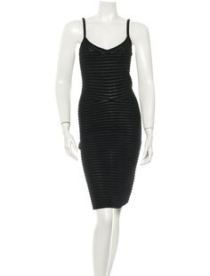 Black Alexander Wang sleeveless dress with V-neck, semi-sheer stripes throughout, and straight bottom hem.