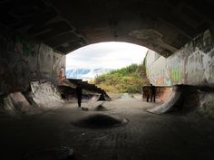 This is Leeside Tunnel Skatepark, it was once blocked op by debree and stone and was no where NEAR skate able, until a bunch of skaters cleared it out and had (with help from the city) built this place, it's around the corner from my place in bc and it's so much fun to skate.