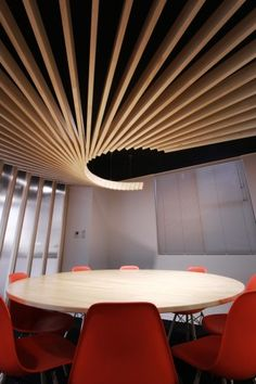 reunion room archdaily red wood roof http://www.archdaily.com/316048/cds-offices-bakoko/