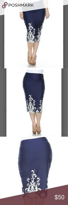 NEW ARRIVAL! Navy Arabesque Pencil Skirt Ultra modern and elegant describes this curve hugging pencil skirt in navy and white. Sz 2x fits 18/20. Waist 35-37in and hips 46-48in. 30in long. 95%polyester, 5% spandex. Has some stretch. Silky material. Skirts Pencil