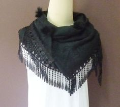 Women scarf black Triangle scarf 57 x 27 inch lace by TuesdayTee