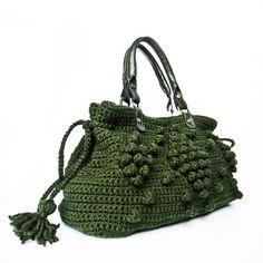 Dark Green Crocheted Handbag. $129.00 USD, via Etsy.