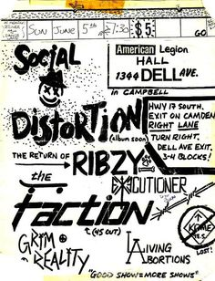 Social Distortion 1984 - Flyer from northern California Social Distortion show in early Mike Ness, Social Distortion, American Legions, Rock Posters, Northern California, Flyers, Punk, Concert, Metal