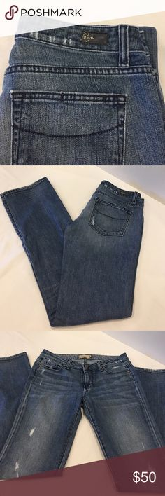 Paige premium denim jeans Size 27 Paige denim jeans....style Jimmy Jimmy.  Slightly distressed.  Can be worn with cuffs or no cuffs....super cute either way! Paige Jeans Jeans