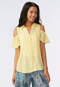 Cato Fashions Cold Shoulder Button Down Shirt #CatoFashions
