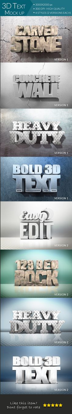 3D Text Mockup — Layered PSD #psd #smart object • Available here → https://graphicriver.net/item/3d-text-mockup/16363357?ref=pxcr
