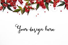 Styled stock photography + FREE Cropped Image | Digital Image | Mockup | JPG Digital Image | White Desk w/ Holiday Greenery & Red Berries | Christmas styled stock images