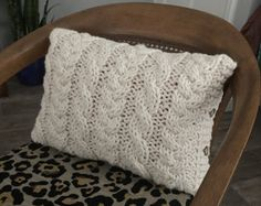 Cable Knit Pillow Cover  Center Cables