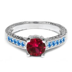 120 Ct Red Created Ruby and Swiss Blue Simulated Topaz 925 Sterling Silver Ring -- Be sure to check out this awesome product.Note:It is affiliate link to Amazon.
