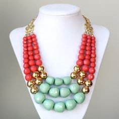 Coral, gold and mint bauble necklace