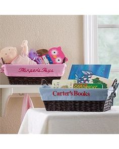 Make cleanup time easier! Kids can store their favorite items in these personalized baskets.