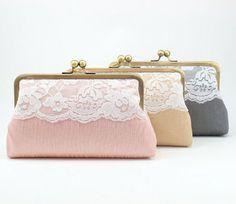 Bridesmaid gifts / Set of 3 / Monogram Clutch / Bridesmaid Clutch / Wedding…