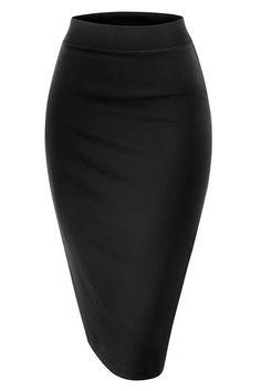 Noble U NBU Women Elastic Waist Band Stretchy Fabric Pencil Skirt