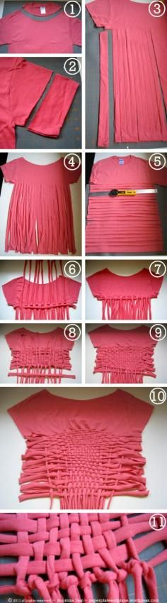 DIY Tutorial: Clothes / Upcycled Teekini: refashion tshirt to bikini top and bottom - Bead&Cord