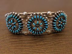 Turquoise Petit Point Sterling Silver Zuni Crafted Cuff Bracelet.  www.EagleDancerGallery.com
