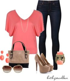 """""""Coral 'n Beige"""" by bitbyacullen ❤ liked on Polyvore"""