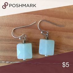 Square Turquoise Earrings Light turquoise square earrings. Excellent condition. Jewelry Earrings