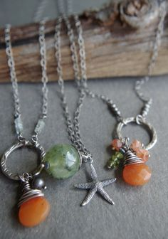"""Sterling Silver and Prehnite necklace - 24"""" length - Mossy Sea Star"""