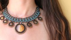 Ancient amber from the trees of magic Mexico!! Macrame & silver!!